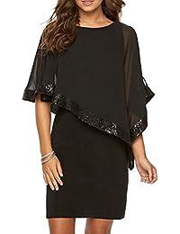 DianShao Mujer Chal Lentejuelas Vestido Cuello Redondo Color Sólido Falda del Vestido Negro M