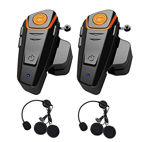 Bluetooth Motorcycle Motorbike Helmet Intercom Interphone Headset 800m Water Resistant for 2 or 3 Riders and 2.5mm Audio for Walkie Talkie MP3 Player GPS - Hands Free & FM Radio (2 Pack) -