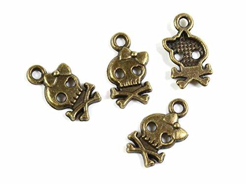 Anhänger als Totenkopf in antik bronzefarben 8 Stück von Vintageparts DIY-Schmuck Skull Metallanhänger Halloween Halloweenschmuck (Halloween Selbstgemacht Kostüme Gruselige)