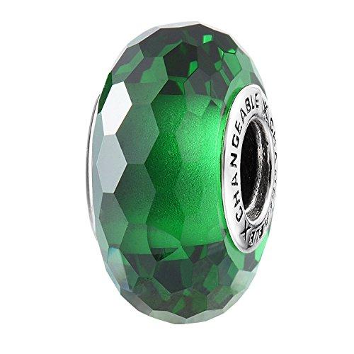 Changeable bead charm per donne ragazze fascino charms argento sterling 925 verde peridoto big compleanno di pietra