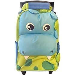 Borsa da viaggio per bambini con ruote e manico telescopico - Dinosaur Design-di Yodo- bagaglio perfetto per le vacanze per brevi soggiorni, vacanze, pigiama party, all'aperto e gite scolastiche