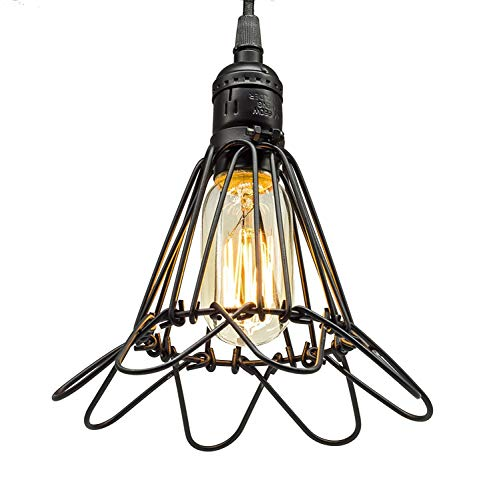 Deckenleuchte E27 Pendant Lights Barn Hanging Lights Black Metal Cage Lighting Industrial Chandeliers Wrought Iron Ceiling Light Fixtures RNGNB ()