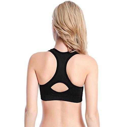 Brightup Femmes Sport Yoga couverture complète Soutien-gorge Rembourré Extensible Tops Noir