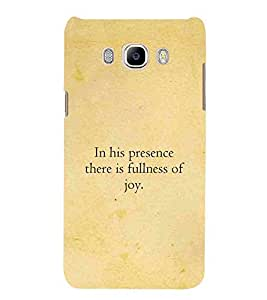 For Samsung Galaxy On8 in his presence there is fullness of ( good quotes, nice quotes, in his presence there is fullness of, quotes, yellow background ) Printed Designer Back Case Cover By Living Fill