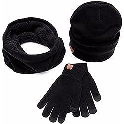 3Pc Invierno Gorro de Punto Suave Bufanda Pantalla Guantes Conjuntos Para Hombre o Mujer - OXOK (Negro)
