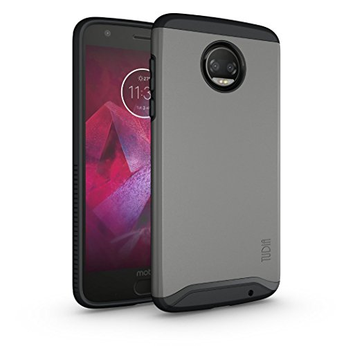 Moto Z2 Force Hülle, TUDIA Slim-Fit MERGE Dual Layer Schutzhülle für Motorola Moto Z Force (2nd Generation), Moto Z2 Force Droid Edition (Metallic Slate)