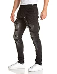 BLZ jeans - Salopette homme déchirée noire délavée en jean