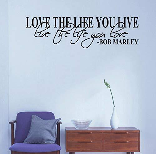 Dalxsh Liebe das Leben, das Sie leben Wand Kunst Zitat Handwerk Wandaufkleber für Wohnzimmer Vinyl Aufkleber Home Decor Art Wall Decals Wandbild16x60 ()