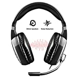 Diswoe Gaming Headphone with Microphone for Xbox One PS4 Switch PC Tablet Smartphone,3.5mm Wired Stereo Over Ear Headset with Mic Noise Canceling,Volume Control,Soft Memory Earmuffs with PC Adapter