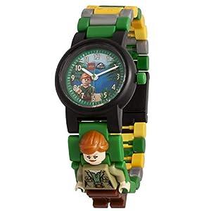Armbanduhr Lego Jurassic World – Claire, inklusive 12 zusätzlichen Armbandgliedern, Lego Minifigur im Armband integriert, analoges Ziffernblatt, kratzfestes Acrylglas