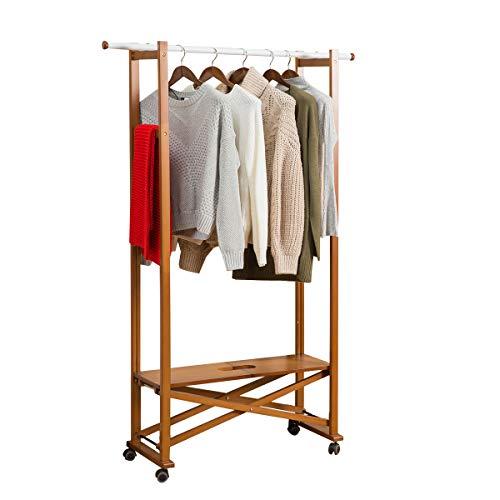 Vlush Garderobenständer, Kleiderständer, Buche, Faltbare Garderobe Holz, Klappbar, Schwenkbaren Rollen bewegt, Höhe ca. 168 cm (Braun, 110 * 31 * 167.5)
