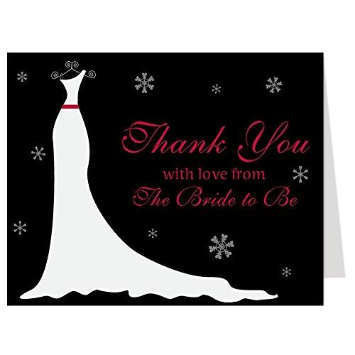 Danke Sie Karten, Kleid, Hochzeit Dusche, Schneeflocken, Schnee, schwarz, rot, weiß, aus der Bride to be, Future Mrs., bald, 50Dankeskarten mit Umschlägen ()