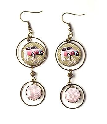 Boucles d'oreilles cabochons, Dolce vita, la Vie est Belle, Inspiration Italie, rose et beige, petit pois