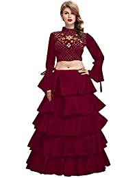 648b883c204 Bandidhari Fashion Women s Banglory satin Ruffle - frills Lehenga With Crop  top blouse piece with Embroidery