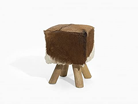 Stool - Ottoman - Footstool - Cow Design - Teak - Leather - DALTON