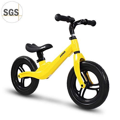 """COEWSKE 12 \""""Balance Bike Magnesium Alloy No Pedal Walking Balance Entrenamiento Bicicleta para niños y niños de 2 a 4 años (Amarillo)"""