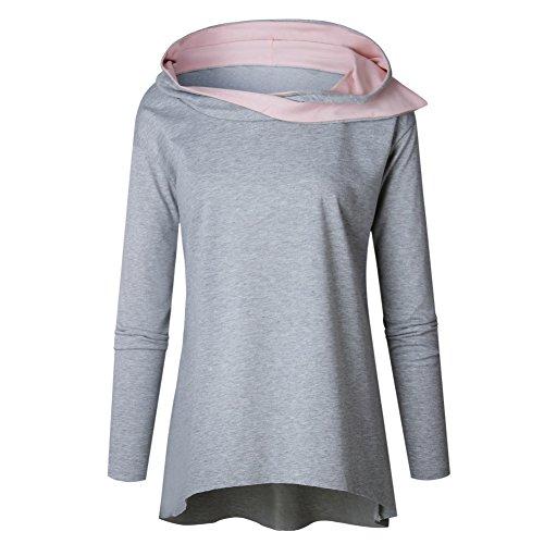 ESHOO Femme Sweat-shirt Manche longue A Capuche Tunique Manteau Automne Gris