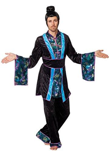 Kostüm Japaner - Kostüm Japaner Kimono türkis Karneval Chinese Asien Herrenkostüm Größe 52