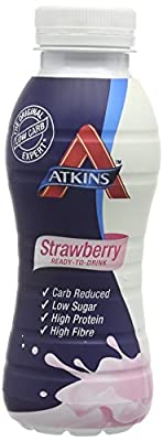 Atkins Strawberry Ready To Drink, Low Carb, High Protein Shake, 6 x 330ml