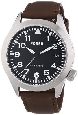 Fossil The Aeroflite - Reloj de cuarzo para hombre, con correa de cuero, color marrón