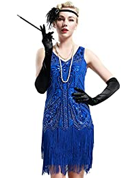 Babeyond Vestito Gatsby Donne 1920s Vestito Abito Anni 20 Donna Flapper Dress 1920s Vestito da Sera Paillette Impreziosito Frange Gatsby Dress Senza Maniche