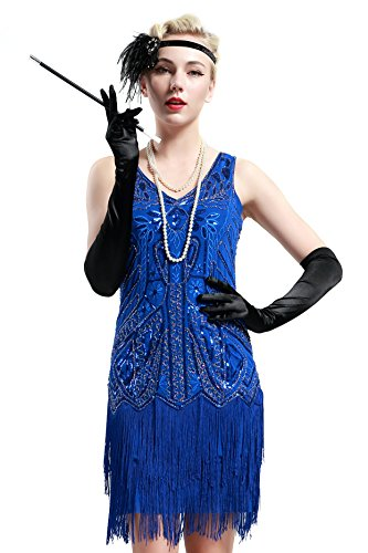 BABEYOND Damen Retro 1920er Stil Flapper Kleider mit Zwei Schichten Troddel V Ausschnitt Great Gatsby Motto Party Kostüm Kleider- Gr. L (Fits 82-92 cm Waist & 100-110 cm Hips), Blau (Schuhe Damen Flapper)