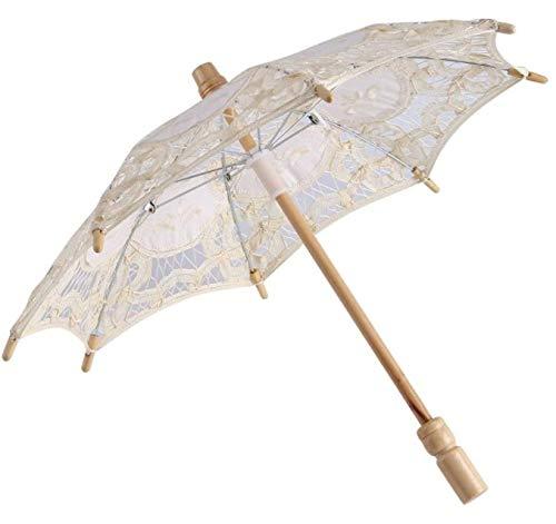 Pizzo ombrello ombrello parasole da sposa da sposa in pizzo ricamo puro cotone lady vintage decorazione puntelli foto, ivory, small