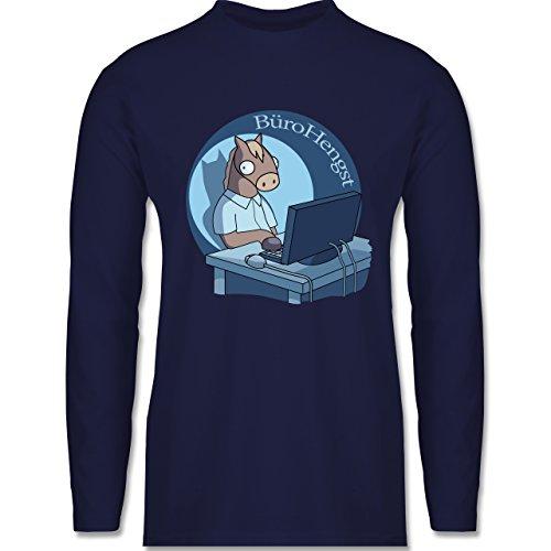 Shirtracer Statement Shirts - BüroHengst - Herren Langarmshirt Navy Blau