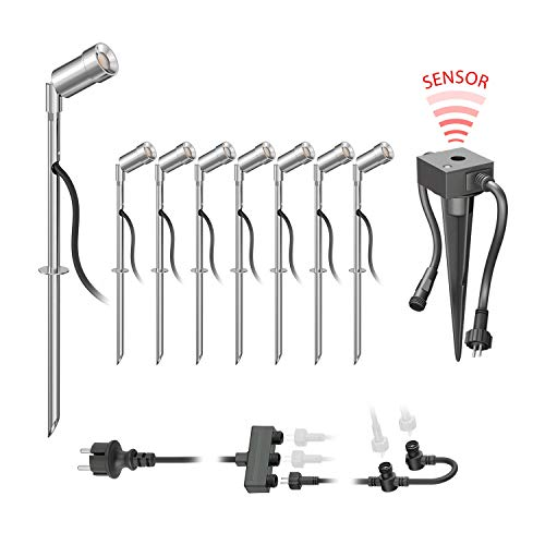 parlat LED Gartenstrahler Spico mit Erdspieß und Dämmerungssensor für außen IP44 68lm warm-weiß 8er Set - Chrom-vorschaltgerät