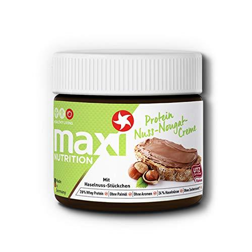 MaxiNutrition Protein-Nuss-Nougat-Creme - Proteinreicher Aufstrich mit Haselnuss-Stücken - Ohne Zuckerzusatz & Palmölfrei - 1 x 250 g