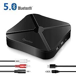 Oacvien Adaptateur Bluetooth 5.0, Transmetteur Mini Émetteur et Récepteur Bluetooth 2-en-1 Sortie Stéréo RCA & 3.5mm, Faible Latence, aptX, pour Voiture/TV/PC/système Audio
