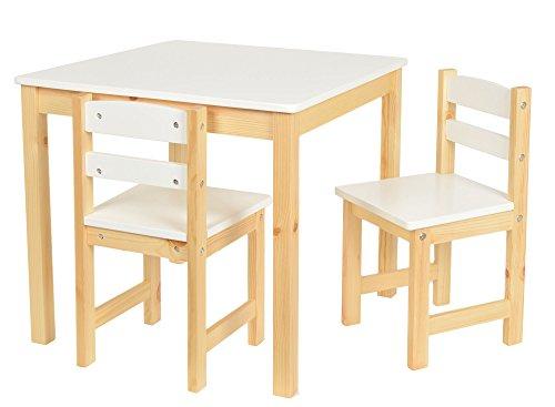Set tavolino 60 x 60 cm con 2 sedie per bambini color bianco e legno naturale. Stile Country. In legno di Abete.
