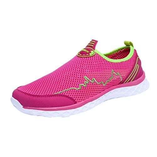 Preisvergleich Produktbild Yvelands Damen Sneaker Turnschuhe Paar Mode Lässige Mesh Schuhe Outdoor Atmungsaktive Flache Bottomed(Hot Pink, 39)