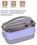 WISHKEY Stylish BPA Free Stainless Steel Big Size Leak Proof, Durable Purple Lunchbox