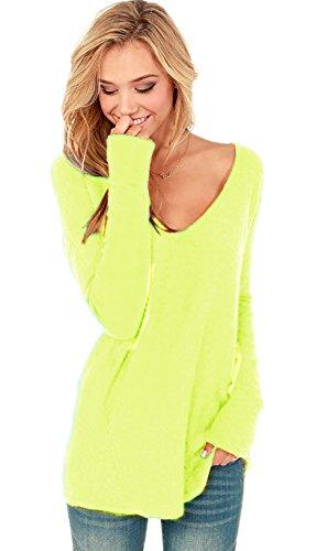Damen V-Ausschnitt Lose Langarm Oberteile Frühling Strickpullover Oversize Lang Sweatshirt Tops (652) (L/XL, Neon Gelb)