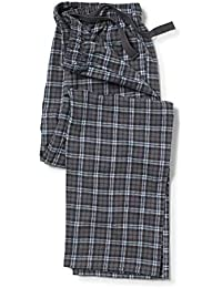 Savile Row Company Men's Charcoal Blue Brushed Cotton Check Lounge Pants