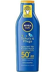 NIVEA SUN Sonnenmilch mit verbesserter Formel für Kinder, Lichtschutzfaktor 50+, 200 ml Flasche, Kids Schutz & Pflege