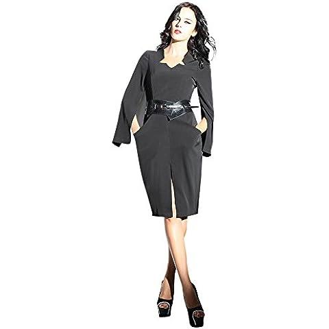 Oulu Mujeres 2016 Nuevo Diseño Negro vestido ceñido de la ropa de sport 272263 (L)