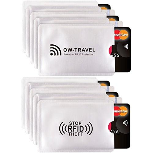 ✅ Bloqueo RFID – ANTI FRAUDE – Protectores para Tarjetas de Crédito Débito Sanitaria Identificaciones – Protector Pasaporte – Protección 100% de RFID & NFC (Fundas para Tarjeta de Crédito 10)