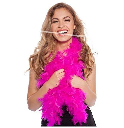 Boa Pink Kostüm Feather - cama24com Federboa Neon Magenta Pink 180 cm für Karneval Fasching Kostüm mit Palandi® Sticker