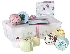 Deluxe Badebomben 8er Geschenkset Lumunu Badefreude Euphoria, 8 Badesalz Badepralinen in Geschenkbox mit Karte