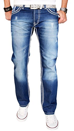 A. Salvarini Herren Designer Jeans Hose blau stonewash dicke weisse Zier Nähte AS011 [AS011 - W33 L36] (Designer Cut Jeans-jeans Vintage)