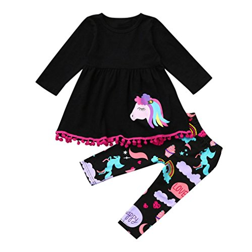 OverDose Mädchen Regenbogen Pferd Kinder Baby Mädchen Outfits Kleidung T-shirt Top Kleid + Lange Hosen Set (3T,A-Schwarz) (Santa Kinder Strampelanzug)