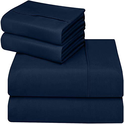 Utopia Bedding - Set Lenzuola Letto - Spazzolata Microfibra (Blu Navy, Matrimoniale)