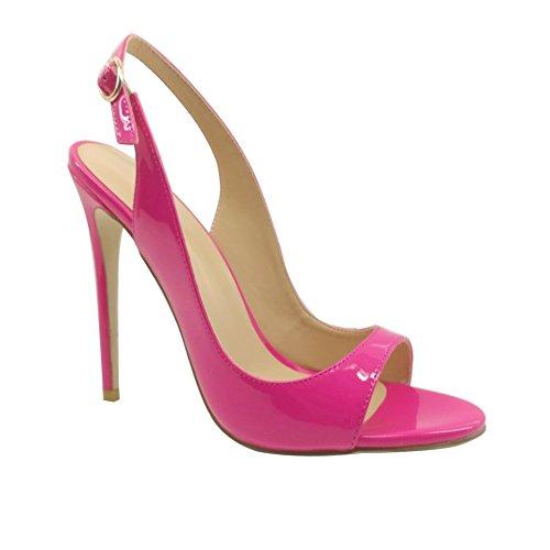 Sapatos Senhoras Senhoras Tamanho Slingback Das Peep Altos Fivela Salto Salto De Com Rosa Alto Sandálias Edefs Toe 8dnPd