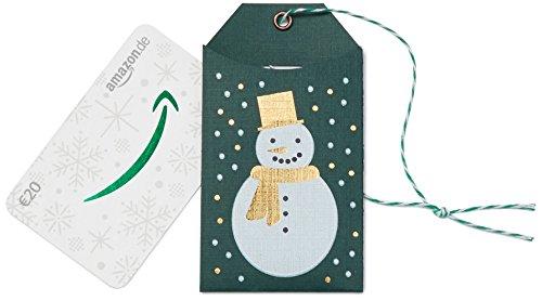 Amazon.de Geschenkkarte in Geschenkanhänger - 20 EUR (Weihnachtlicher Schneemann) (Papier-wein-flasche-tags)