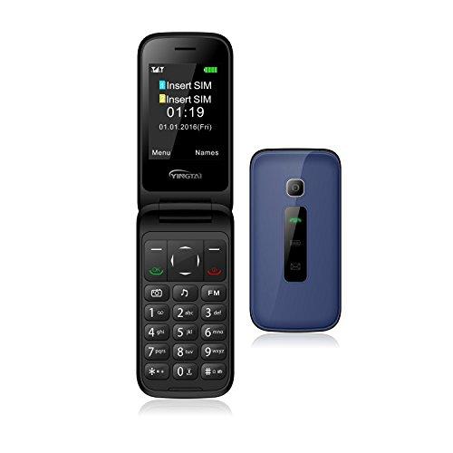 YINGTAI - T31 3G Telefono Móvil Libre Teclas Grandes para Mayores - 2.4 inch Principal Pantalla - Doble SIM Grande Botón Alto Sonido Características Celular (Azul)