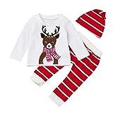 Fossen Bebe Navidad Disfraz Ropa Conjunto Recién Nacido Niña Niño Reno Tops + Gorra + Pantalones a Raya (6 Meses, Blanco)