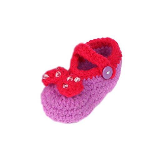 Gestrickte Baby 11 Baby Cm Flauschige Lila 0 K Bigood Weis Schleife 6 Krabbelschuhe unisex Schuhe Länge Knopf pHIq0