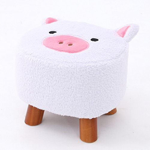 CJH Cartoon Schwein Kinder Kleine Hocker Massivholz Schuh Ersatz Hocker Flanell Tuch Hocker Abdeckung (Color : Light pink) -